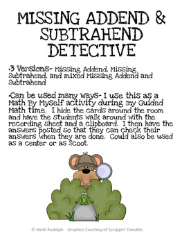 Missing Addend and Subtrahend Detective