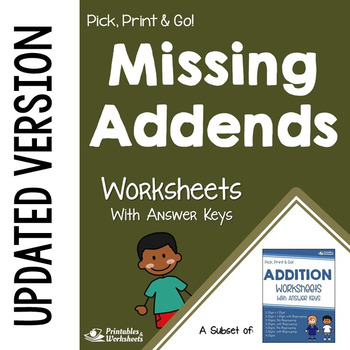 Missing Addends or Sum, Worksheets with Answer Keys