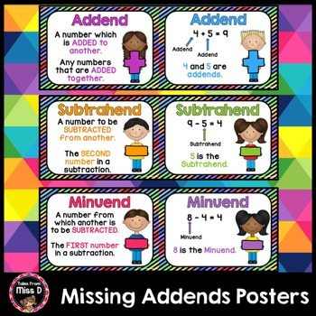 Missing Addends Posters