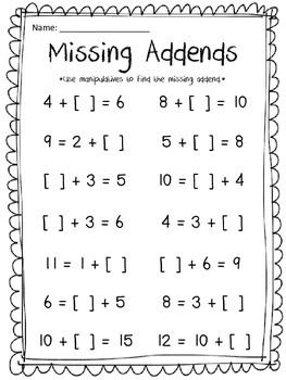 Missing Addends Equations and Word Problems
