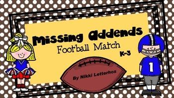 Missing Addends Football Match