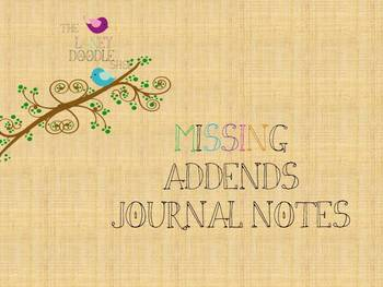 Missing Addends Journal Notes