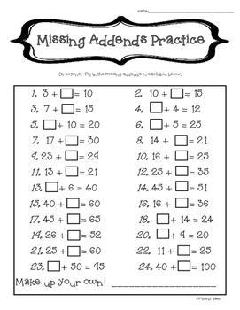 Missing Addends/Mental Math Practice--2-Digit Addition