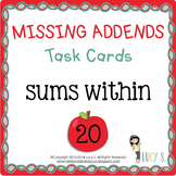 "Missing Addends Task Cards SCOOT "" APPLES "" - sums within 20"