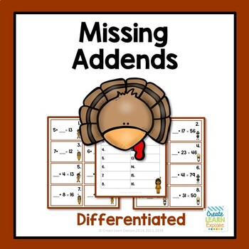 Missing Addends Thanksgiving Theme