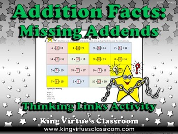 Missing Addends Thinking Links - Addition Facts - King Vir