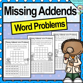 Missing Addends Word Problems - Cut and Paste - Grade One