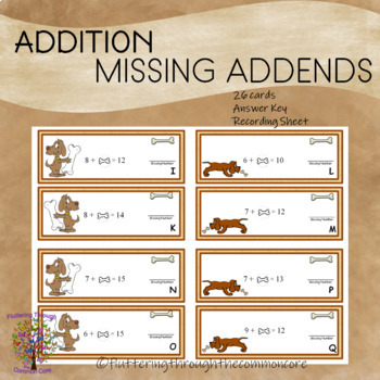 Addition Missing Addends (sums to 20)  Answer Key 26 cards