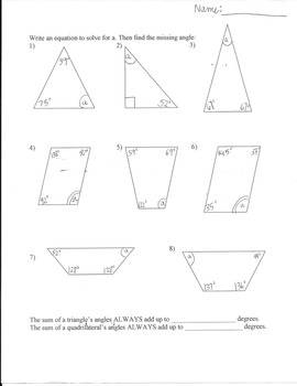 The Missing Angle: Quadrilaterals | Worksheet | Education.com
