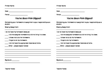 Missing Assignment form