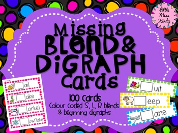 Missing Blend & Digraph literacy centre cards - Beginning sounds