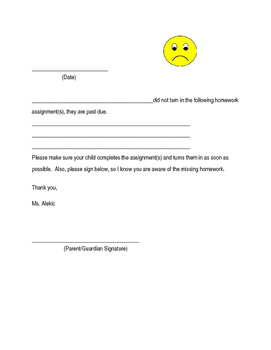Missing Homework Assignment Parent Sheet