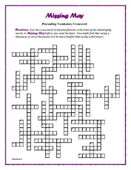 Missing May: Prereading Crossword—50 words! Pair with Book