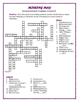 Missing May: Syn./Ant. Vocab Crossword—Words match Bookmar