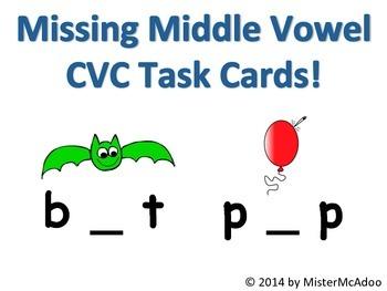 Missing Middle Short Vowel CVC Task Cards