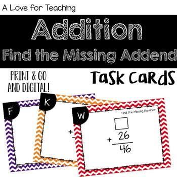 Missing Number Addition Task Cards