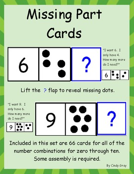 Part Part Whole ~ Missing Number Cards