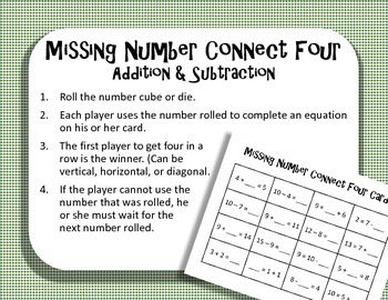 Missing Number Connect Four Addition Subtraction Game TEKS 1.5F