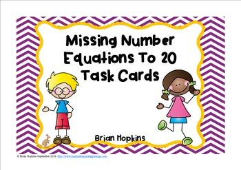 Missing Number Equations Task Cards