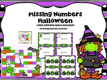 Missing Number Game Halloween (With Editable Version Included)