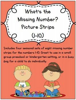 Missing Number Strips 1-10