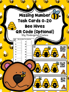 Missing Number Task Cards 0-20 Bee Hives QR Code (Optional)