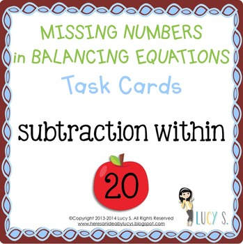 Missing Number Task Cards SCOOT - balancing equations - su