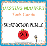 Missing Numbers Task Cards SCOOT - subtraction within 20 - APPLES