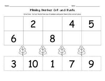Missing Numbers Cut and Paste Fall Packet