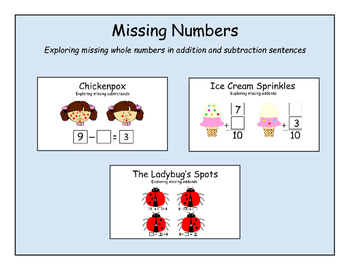 Missing Numbers - Exploring missing whole numbers in addit