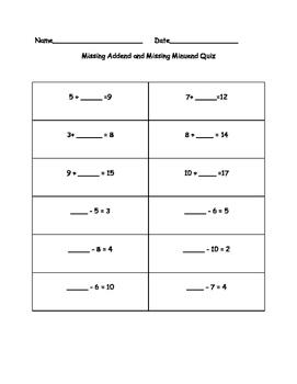 Missing Numbers Quiz