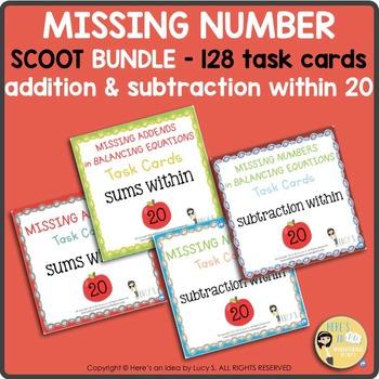 Missing Numbers Task Cards SCOOT Bundle - Addition & Subtr