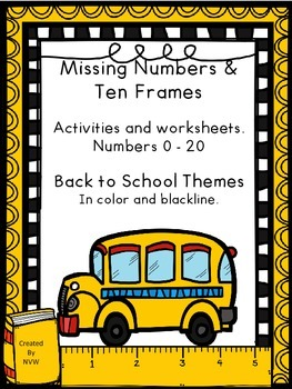 Missing Numbers and Ten Frames Back to School Themed Activ