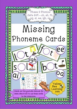 Missing Phoneme Cards - Phase 3 Sets 8-9 (ch, sh, th, ng,