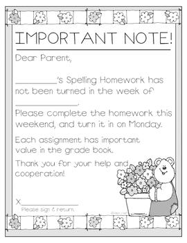 Missing Spelling Homework Communication Forms