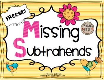 Missing Subtrahends {Freebie!} - Common Core Aligned