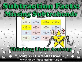 Missing Subtrahends Thinking Links - Subtraction Facts - K