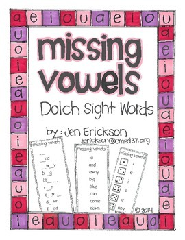 Missing Vowels:  Dolch Sight Words