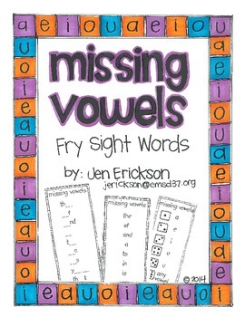 Missing Vowels:  Fry Sight Words