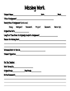 Missing Work Form