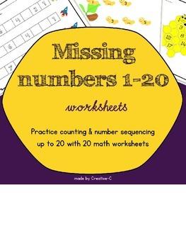 Missing numbers 1-20 worksheets - no prep - number recogni