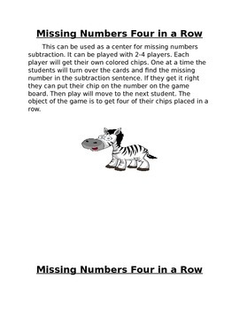 Missing numbers 4 in a row game with matching worksheet