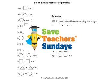 Missing numbers problems and calculations with brackets worksheet