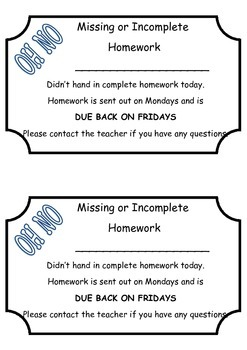 Missing or Incomplete Homework note for parents