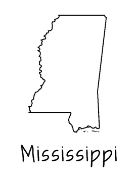 Mississippi Map Coloring Page Activity - Lots of Room for