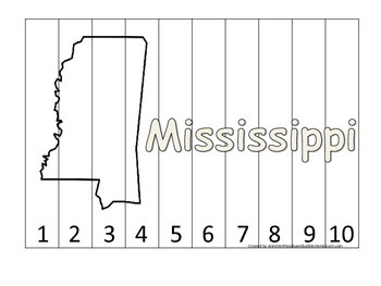 Mississippi Number Sequence Puzzle.  Learn the States pres