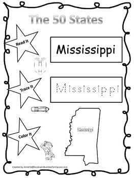 Mississippi Read it, Trace it, Color it Learn the States p