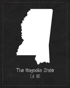 Mississippi State Map Class Decor, Government, Geography,