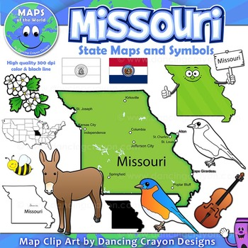 Missouri State Symbols and Map Clipart