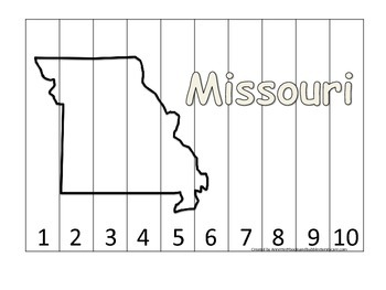 Missouri Number Sequence Puzzle.  Learn the States prescho